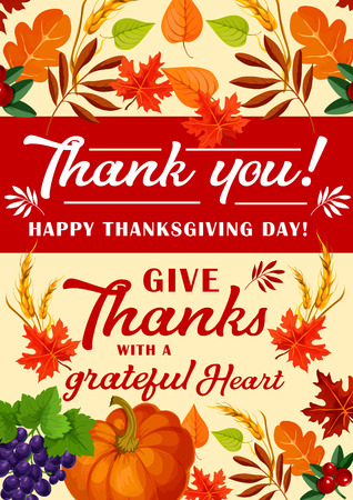 Happy Thanksgiving Day greeting card for traditional harvest holiday. Vector Thank you design of pumpkin and berry fruits with acorns in autumn maple, oak or rowan leaf fall