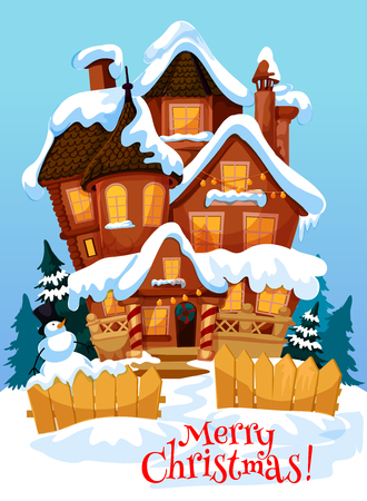 Christmas house greeting card for New Year winter holiday celebration. Home, decorated by Xmas tree wreath on door and lights on windows with snowman and fir tree on front yard festive poster design