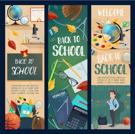 Back to School banners for autumn education or seasonal sale. Vector design of school boy with backpack at lockers, fall leaf on chalkboard and study stationery or basketball and rugby ball