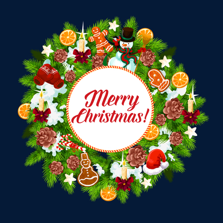 Merry Christmas greeting card of New Year or Xmas holly wreath with golden bell and star decorations. Vector design template of Christmas ornament, gingerbread cookie and candy holiday season 일러스트