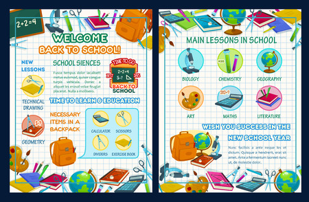 Back to school poster template with school supplies and science infographic. Maths, chemistry, biology and geography study items with book, pencil and globe, blackboard and calculator on squared paper Illustration
