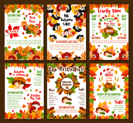 Autumn sale or October seasonal 50 percent discount posters for shop or store design template. Vector autumn seasonal shopping promo set of maple leaf, oak acorn and birch foliage, berry and mushroom Illustration