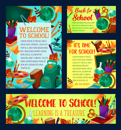 Welcome back to school banner template set with school supplies and education items. Chalkboard with pencil, book and paint, globe, scissors and backpack poster for new school year celebration design