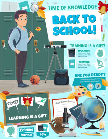Back to School poster for education and learning in university or college. Vector cartoon design of student boy with school bag, microscope and globe for astronomy, bell and glasses on blackboard