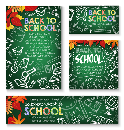Welcome Back to School chalk green blackboard posters design template of school bag and lesson education stationery. Vector school book or notebook and calculator, pen or pencil and autumn maple leaf
