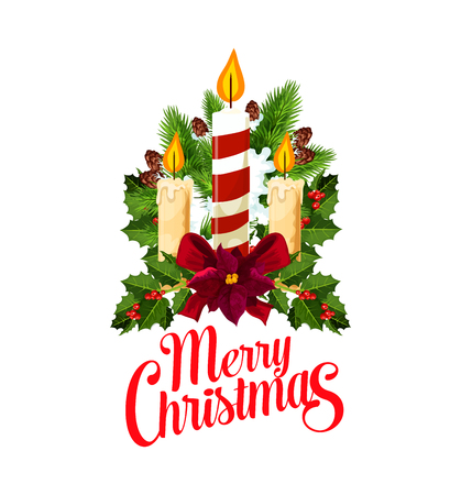 Christmas holiday festive composition with Xmas candle icon. Holly berry, fir and pine branch with Christmas candle, snow, ribbon bow and poinsettia for New Year winter holiday greeting card design
