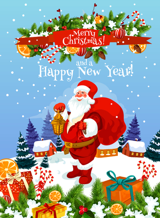 Christmas and New Year greeting card of Santa Claus with gift bag and lantern. Santa, Xmas present and holly garland festive poster with ribbon banner and wishes of Happy Winter Holidays