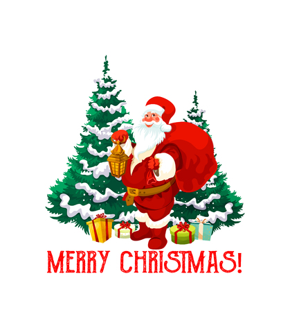Christmas holiday icon of Santa Claus with gift. Santa with Xmas tree, candle lantern and red bag, snowflake, present box and red ribbon bow for New Year winter holiday celebration design