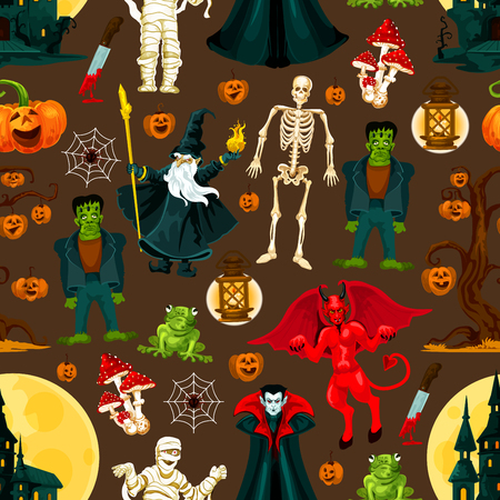 Halloween horror holiday seamless pattern background with scary monsters. October pumpkin lantern, skeleton and spider net, ghost haunted house, moon and devil, dracula vampire, zombie and mummy Illustration