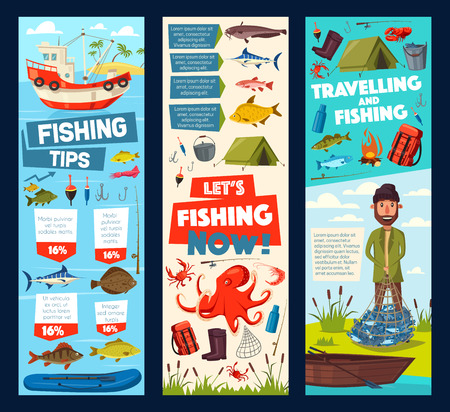 Fishing tips for fisher trip in fish catch. Vector cartoon banners of fisherman camping tent and equipment, fishery boat with rods, tackles and baits for ocean marlin, sea flounder and seafood octopus Illustration