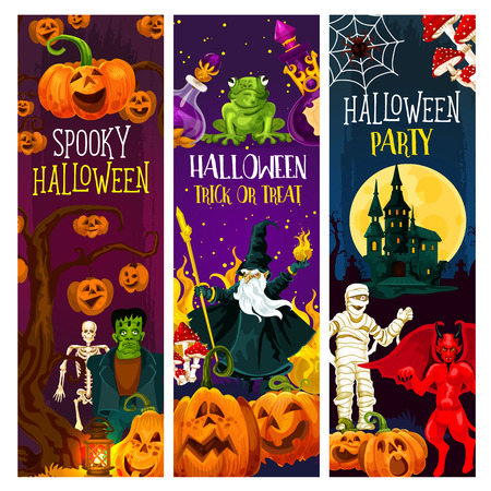 Halloween party and trick or treat night celebration banner. Horror pumpkin, zombie and spider, ghost house, moon and skeleton skull, mummy, devil demon and evil wizard for Halloween invitation design