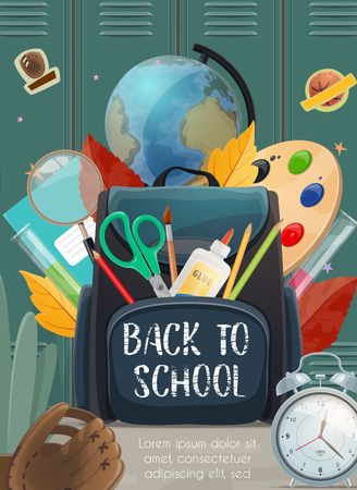 Back to School poster of education books and student stationery or rugby sport training ball in backpack. Vector locker with globe, paint brush or autumn leaf and alarm clock or pen with pencil Ilustração