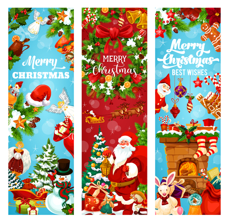 Winterferiengrußfahne für Weihnachts- und Neujahrsfeier. Weihnachtsmann, Schneemann und Geschenk, Weihnachtsbaum und Stechpalmenbeerenkranz mit Glocke, Schneeflocke und Bandschleife, Kugel, Süßigkeit und Sockenfahnenentwurf Vektorgrafik