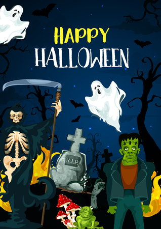 Happy Halloween greeting card for monster party celebration. Vector cartoon design of ghosts, death or vampire and zombie hand or monsters in forest on cemetery tombstone