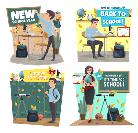 School new year symbols with student at desk or chalkboard and geography teacher with globe, backpack and microscope or telescope, autumn leaves and hall with lockers, sport items vector isolated