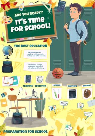 School time poster for education season preparation or back to college. Vector cartoon design of university student boy with school bag or backpack at locker and stationery on world map for geography