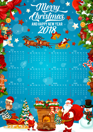 Festive calendar template of Christmas and New Year holiday celebration. Holly berry and Xmas tree frame of 2018 year calendar, adorned by Santa, snowman and snowflake, gift, candy, sock and cookie
