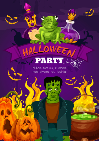 Halloween night party festive poster with horror monster and ribbon banner. Halloween pumpkin lantern, zombie and bat, spider net, witch potion and cauldron for october holiday invitation design