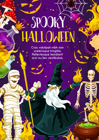 Halloween holiday greeting banner with october trick or treat night monster. Spooky skeleton, spider net and horror mummy, evil wizard, witch potion and cauldron festive poster for invitation design Çizim