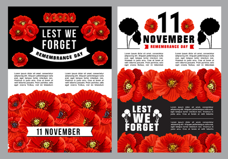 Poppy Day Lest We Forget poster for Remembrance Day template. Red poppy flower field with 11 November memorial ribbon banner for World War soldier and veteran Memory Day design