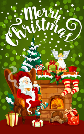 Christmas gift stocking and Santa Claus festive banner. Santa, Xmas tree and fireplace, decorated by garland, present, ribbon bow and candy, snowflake, sock and light for greeting card design