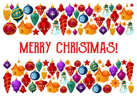 Carte de voeux joyeux Noël du motif de décorations d'arbre de Noël. Conception de vecteur de boule de verre d'arbre de Noël avec des étoiles, une maison ou une étoile et des glaçons pour la célébration des vacances du Nouvel An Vecteurs