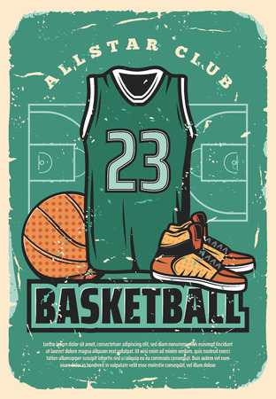 Basketball club or college team and sport league retro poster. Vector vintage design of basketball player vest shirt, ball and sneakers shoes on arena field for cup tournament or championship Çizim