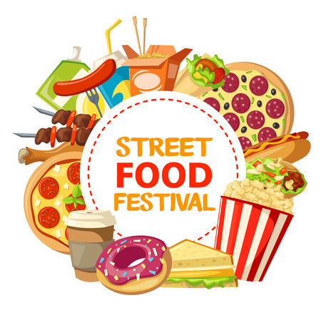Street food festival advertisement poster of fastfood burgers, sandwiches or snacks and dessert meals. Vector design of donut, coffee or soda drink and pizza, Mexican tacos and kebab barbecue