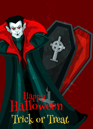 Happy Halloween greeting card design of vampire and coffin for trick or treat holiday. Vector scary zombie monster and tombstone on graveyard for Halloween October party celebration poster Illustration