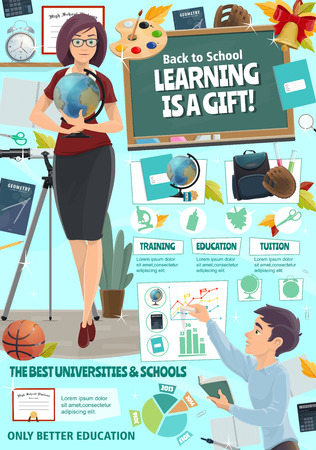 Education and study poster for back to school or college season. Vector university teacher and school student with classes books and stationery for algebra, geometry or geography and mathematics