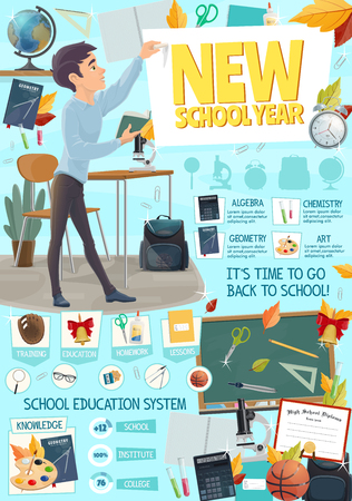 School season or college and university education season poster. Vector cartoon design of student boy and discipline classes of algebra, chemistry or geometry and art stationery for new school year