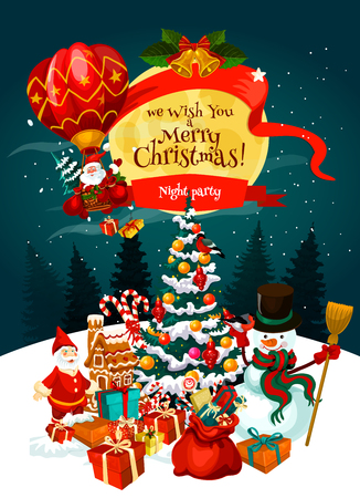 Christmas party invitation poster for winter holiday celebration template. Snowman and Santa with Xmas tree, gift and bell, snowflake, ribbon bow and candy for New Year night party banner design