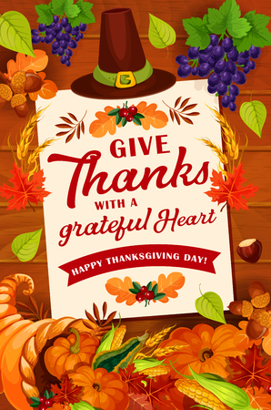 Thanksgiving Day autumn holiday greeting card design. November harvest celebration poster on wooden background with orange pumpkin and maple leaf, cornucopia and pilgrim hat, vegetable and fruit