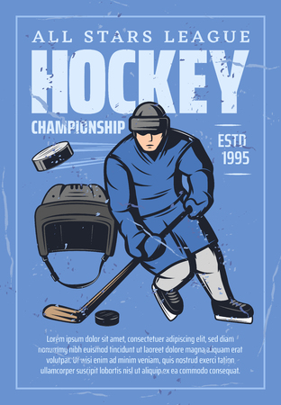 Hockey league championship retro poster for sport team tournament. Vector vintage grunge design of hockey player or goalkeeper with stick and puck in safety helmet on ice rink or arena stadium