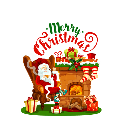 Święty Mikołaj z ikoną kominka Boże Narodzenie na zimowe wakacje kartkę z życzeniami. Pończocha Mikołaja i prezent z ostrokrzewem, prezentem, wstążką i kokardką, cukierkami, skarpetą i płatkiem śniegu na Boże Narodzenie i Nowy Rok
