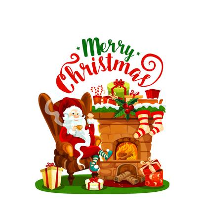 Weihnachtsmann mit Weihnachtskaminikone für Winterferiengrußkarte. Weihnachts- und Geschenkstrumpf mit Stechpalmenbeere, Geschenk, Band und Schleife, Süßigkeiten, Socke und Schneeflocke für Weihnachts- und Neujahrsdesign