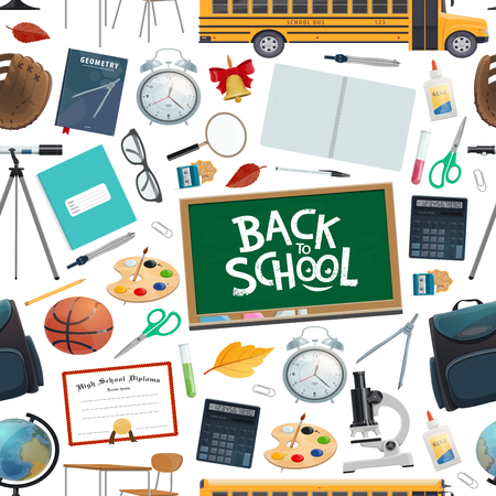 Back to school seamless pattern of stationery supplies for education. Chalkboard and notebook, alarm clock and basketball, backpack and palette, glasses and globe, telescope and scissors vector