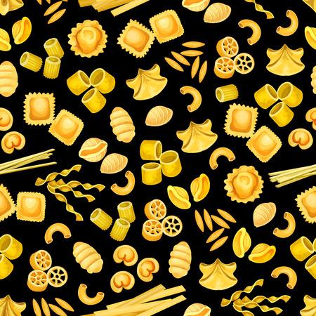 Pasta shape of italian food seamless pattern background. Pasta, spaghetti and macaroni, penne, rigatoni and fusilli, ravioli, fettuccine and gnocchi, noodle, orzo and rotelle of mediterranean cuisine