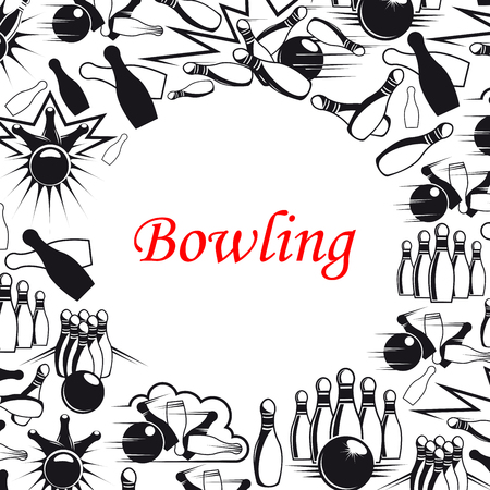 Bowling sport game poster with ball and pins frame. Bowling strike, skittle and ball on lane black and white banner, decorated with comics book explosion and cloud for sport club design Illustration