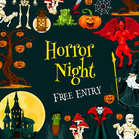 Halloween horror night party banner for autumn holiday celebration. Scary skeleton, Halloween pumpkin and spider net, ghost haunted house, vampire and zombie, wizard and mummy for invitation design Ilustracja