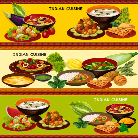 Indian cuisine restaurant banner with traditional asian food. Rice and sauce, served with lamb curry, flat bread and spinach chicken, almond soup, mushroom vegetable stew and rice pilaf with nuts Foto de archivo - 112004369