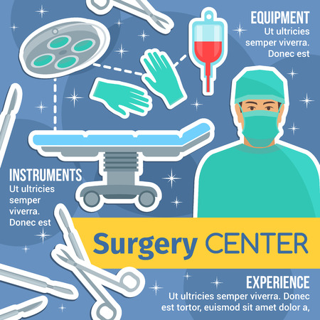 Surgery medicine poster of surgical medical center or hospital. Surgeon doctor, operating room equipments and instruments banner with operating table, lamp, tool and blood for advertising design
