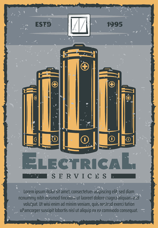 Electrical service banner with retro grunge electrical supplies. Electric battery and switch vintage poster in scratched frame for repair, maintenance and engineering service themes design