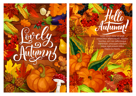 Autumn poster with fall leaves and harvest of vegetables. Yellow maple leaves and corn, mushroom and pumpkin, eggplant and acorn, pear and cone, viburnum and wheat, black currant and squash vector