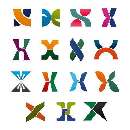 Alphabet letter X icons for corporate identity font design. Uppercase symbols X, formed of colorful geometric figures, branded typography type for business card or emblem template Ilustração