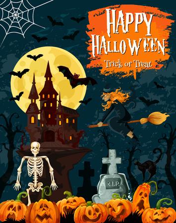 Halloween Süßes oder Saures Grußkarte mit gruseligem Geisterhaus und Oktoberfeiertagskürbis. Horrorschloss, Friedhofsfriedhof und Hexe, Fledermaus, Spinne und Skelett für Halloween-Partyeinladungsentwurf