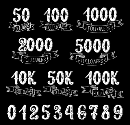 Followers counter retro symbols on black background. Social media web user number, network community follower, friend and subscriber thank you cards with ribbon banner