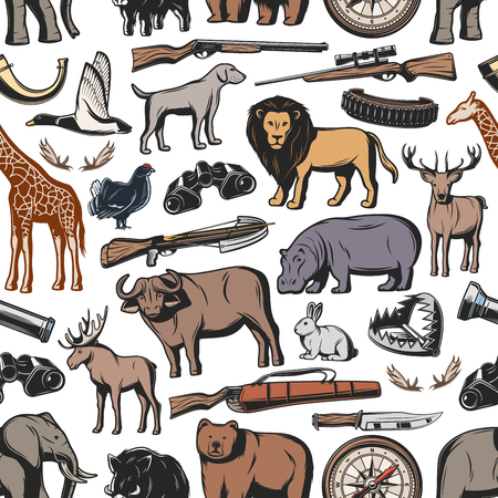 Hunting sport seamless pattern background with hunter rifle and wild animal. Weapon, gun and duck, deer, shotgun and compass, bear, lion and antler, dog, knife and huntsman ammunition backdrop design