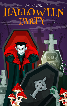 Halloween vampire festive banner for october holiday horror night party invitation. Spooky cemetery with dracula in coffin, gravestone and zombie hand greeting card for promotion poster, flyer design Illustration