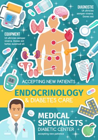 Affiche de la clinique du diabète pour la conception de la médecine endocrinologique. Médecin endocrinologue, organes du système endocrinien et bannière de traitement médical avec cœur, cerveau et glande thyroïde, pilule, insuline et larynx